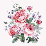 Classical vintage floral greeting card, watercolor bouquet of - 88063832