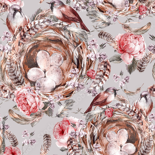 Cotton fabric Watercolor floral vintage seamless pattern with rose birds nests