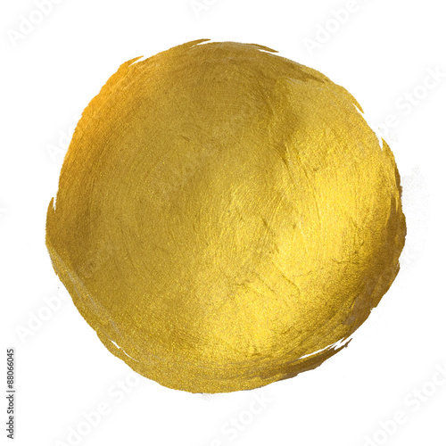 Fotografia  Gold Round Shining Paint Stain Hand Drawn Illustration