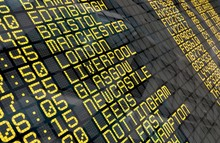 Airport Departure Board With United Kingdom Destinations