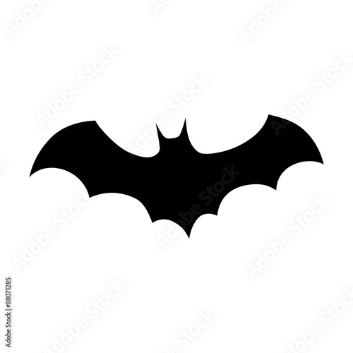 spooky bat silhouette flat icon for halloween apps and websites