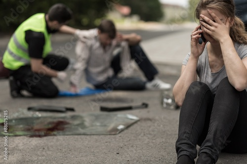 Despair driver after traffic accident Wallpaper Mural