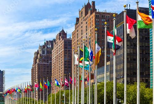 Fotografía  Sede de las Naciones Unidas con banderas de los miembros de la U