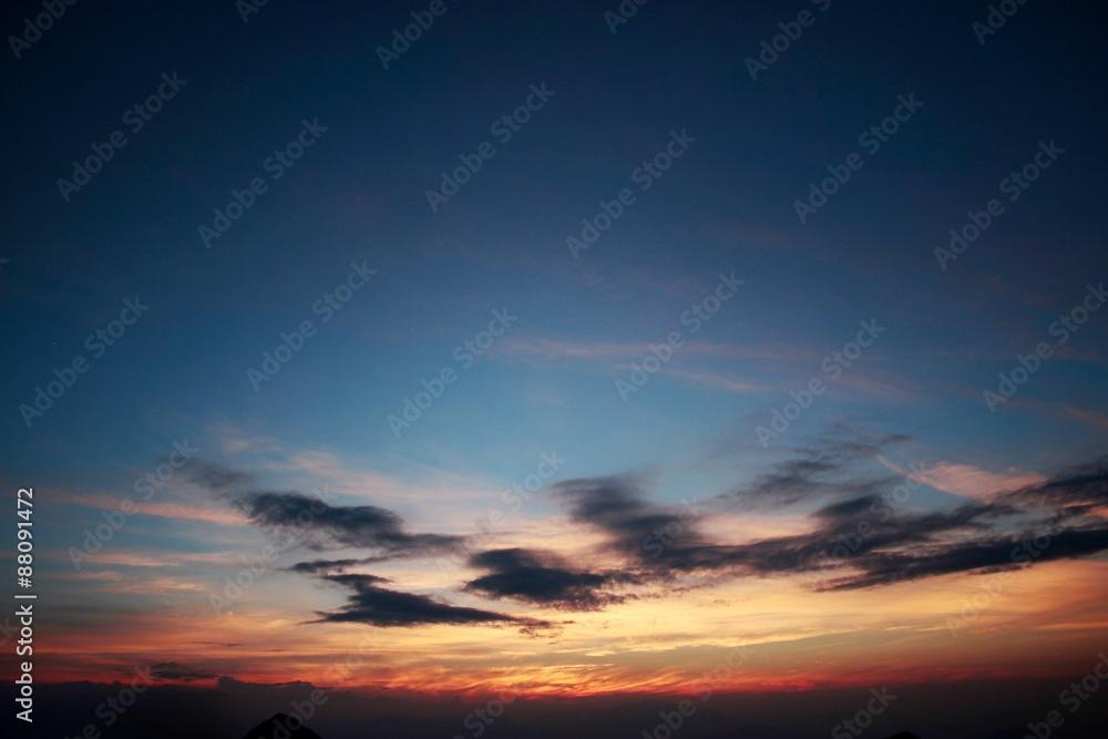 Fototapeta 夏の夕暮れ/標高2000mからの夕暮れ風景