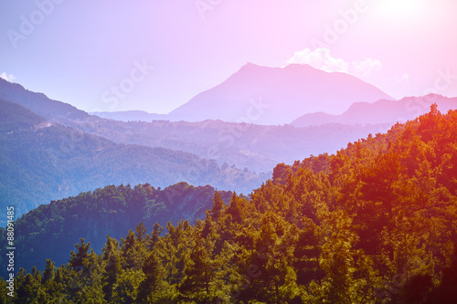Fotobehang Purper sunrise in the mountains