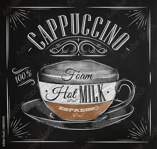 Photo  Poster cappuccino chalk