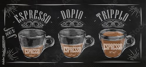 Fotografia  Poster espresso chalk