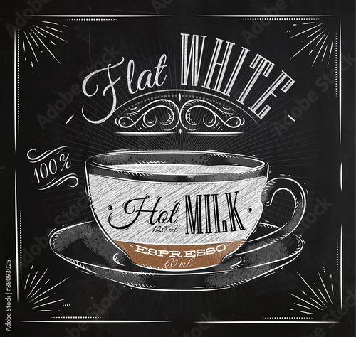 Poster flat white chalk Canvas Print