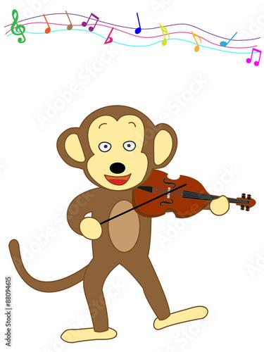 Fotobehang Indiërs 猿のヴァイオリン演奏