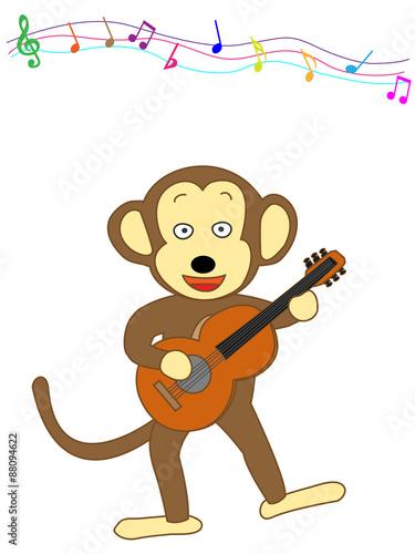 Fotobehang Indiërs 猿のギター演奏