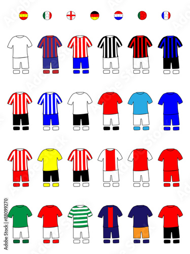 European Clubs Jerseys Football Kits A Wallpaper Mural