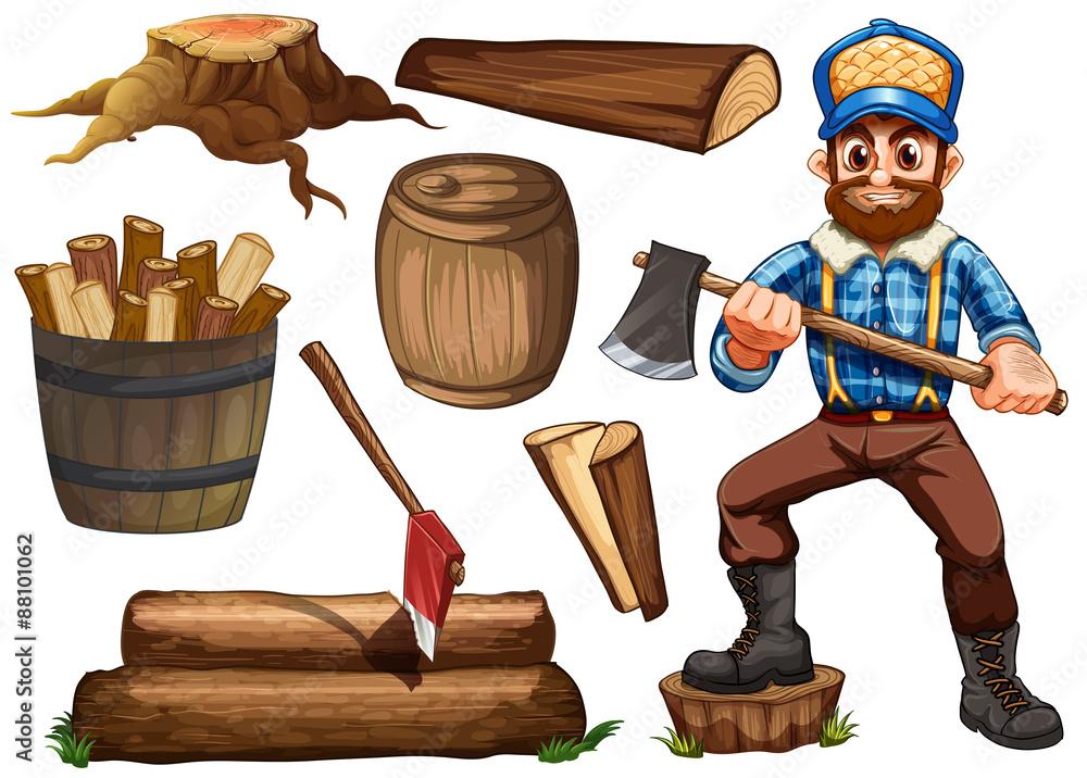 fcf31435 Fotografiet, Poster Lumberjack and firewood på Europosters.se