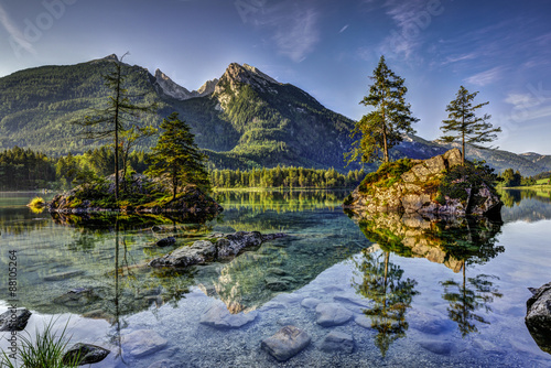 Printed kitchen splashbacks Reflection Alps, lake Hintersee