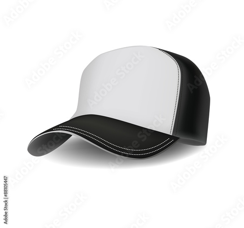 Fotografia  Isolated realistic сombined black and white sports baseball cap