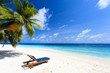 Beach chair on perfect tropical sand beach