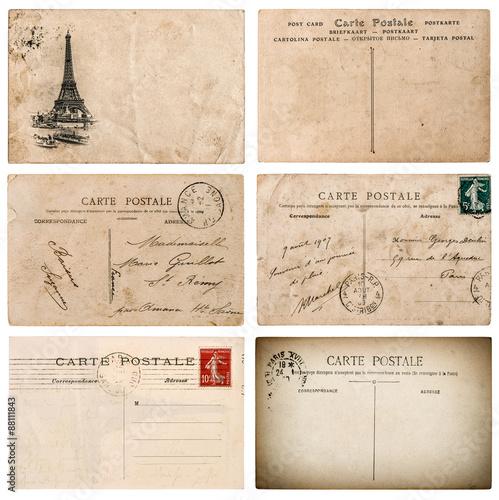 Fotografia  Antique french postcard  with stamp from Paris. Scrapbook elemen