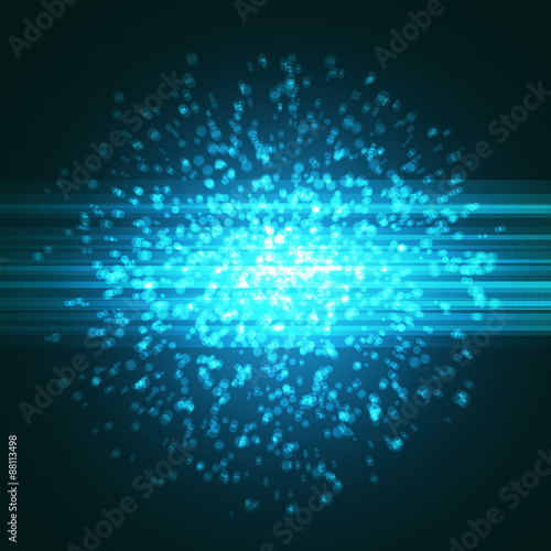 Staande foto Fractal waves Bright blue particle explosion abstract background