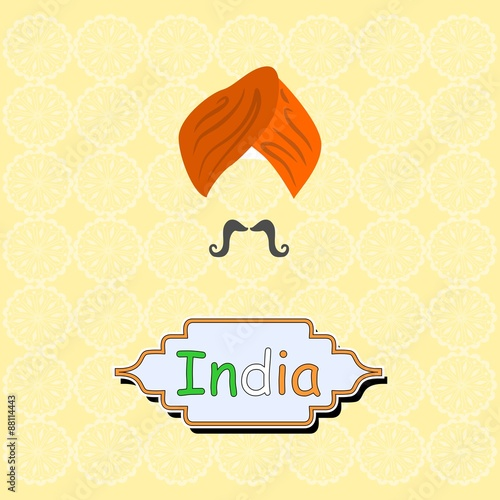 Photo  Illustration in the style of a flat design on the theme of Indian style
