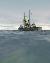 3D Render Of A Vintage Warship (1890-1915) Moving Across A Choppy Sea With An Overcast Sky. Fictitious Warship, Created And Modeled Entirely By Myself. Low Camera Angle To Emphasize The Rough Sea.