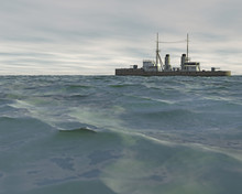 3D Render Of A Vintage Warship...