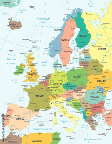 Photo Europe map - highly detailed vector illustration.