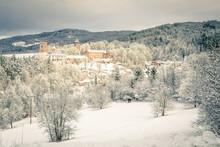 State Castle Rozmberk Nad Vltavou South Bohemia And Church In The Winter (snow)