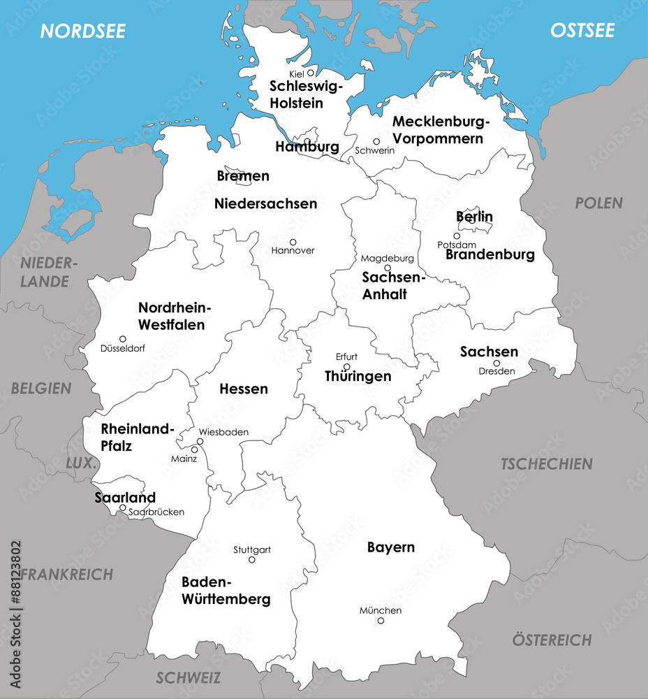 deutschland karte bundesländer mit hauptstädten Wall Murals Deutschland Karte Bundesländer Landeshauptstädte