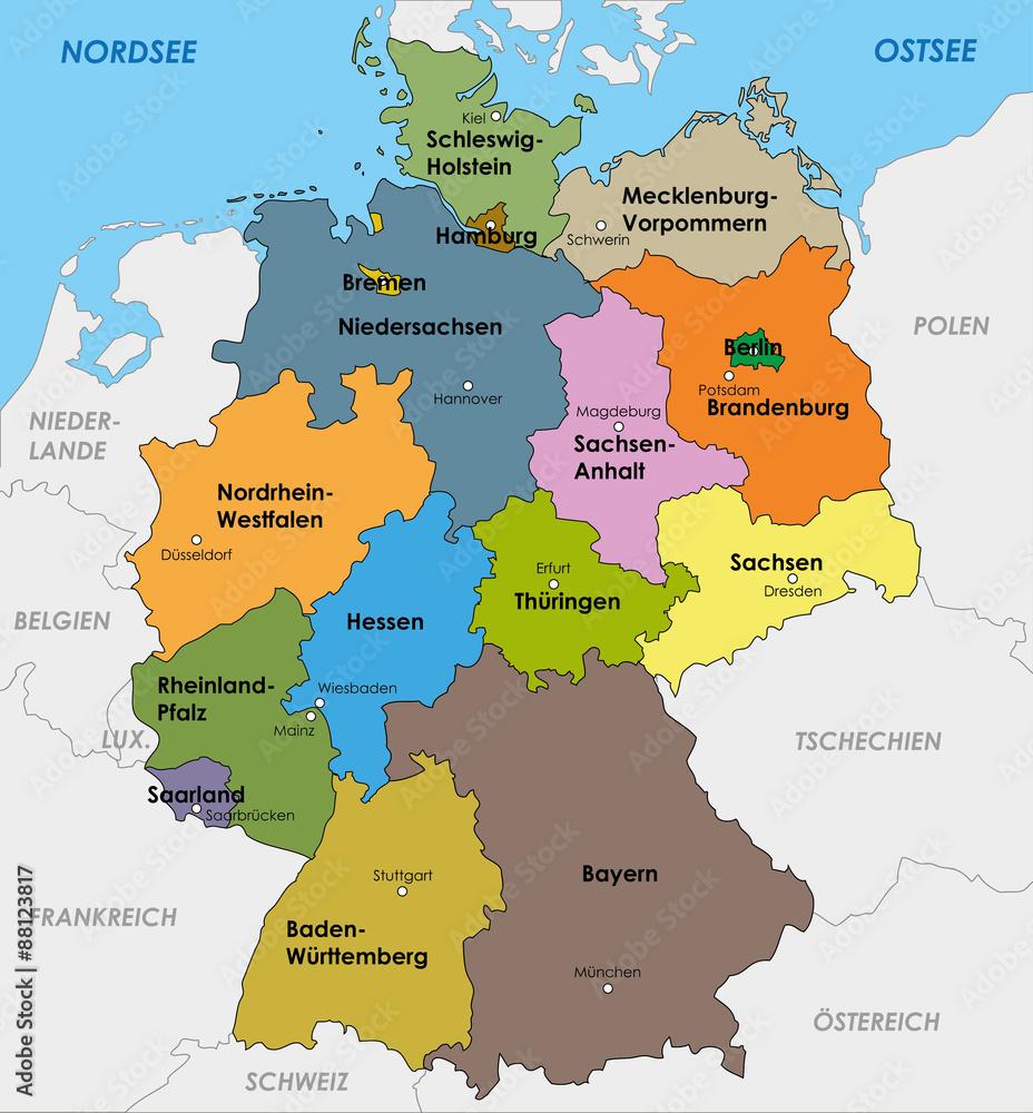 landeshauptstädte deutschland karte Deutschland Karte Bundesländer Landeshauptstädte Hauptstadt