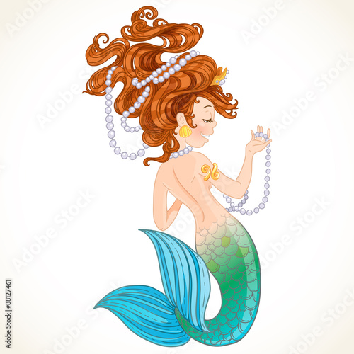 Cute little mermaid with pearl Poster