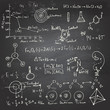 Chemical formulas and drawings on a chalkboard