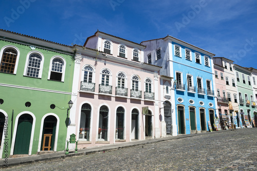 Historic city center of Pelourinho Salvador da Bahia Brazil features colorful co Obraz na płótnie