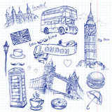Fototapeta Londyn - hand drawing London on a sheet of notebook