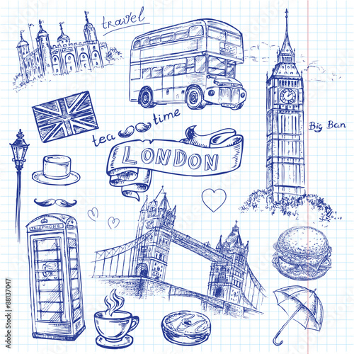 Tuinposter Doodle hand drawing London on a sheet of notebook