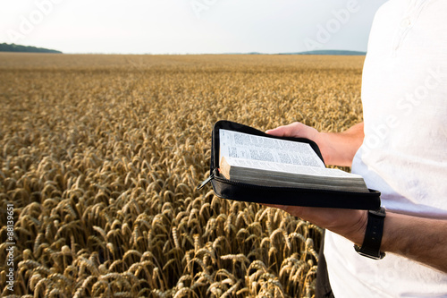 Photo  Man holding open Bible in a wheat field