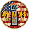 grungy retro 66 six gas station sign, vector