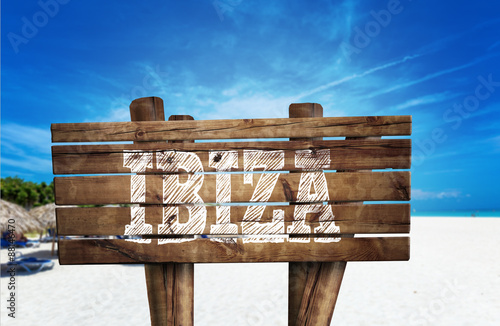 Ibiza wooden sign on the beach