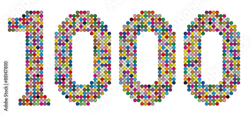 Fotografía  THOUSAND - composed of exactly one thousand colorful balls- isolated vector illustration on white background
