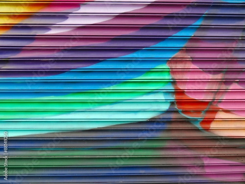 Spoed Foto op Canvas Graffiti Painted Wall: Colorful Abstract Pattern in Detail of Graffiti