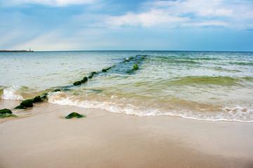 Fototapeta beach with breakwater