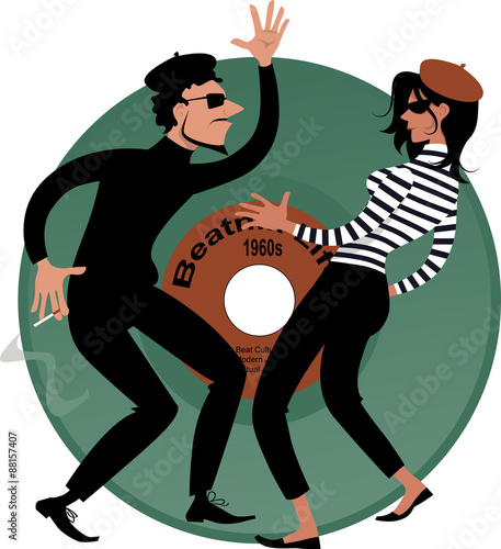 Photo Beatnik couple dancing, vinyl record on the background, vector cartoon, EPS 8
