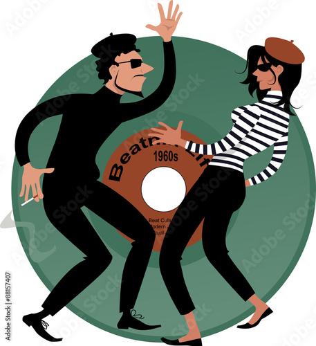 Beatnik couple dancing, vinyl record on the background, vector cartoon, EPS 8 Canvas Print