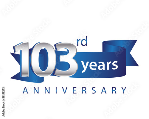 103 Years Anniversary Logo Blue Ribbon Canvas Print