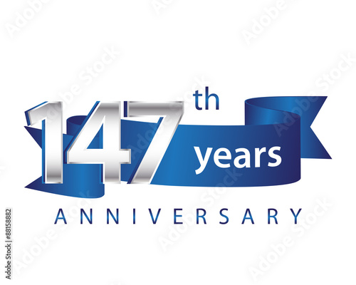 Fotomural 147 Years Anniversary Logo Blue Ribbon