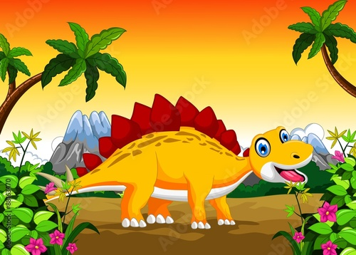 Tuinposter Dinosaurs Dinosaur cartoon with landscape background for your design