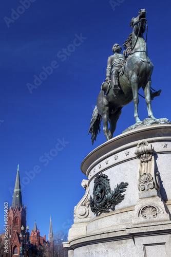 Fotografie, Obraz  General George Thomas Civil War Statue  Memorial Luther Church Washington DC