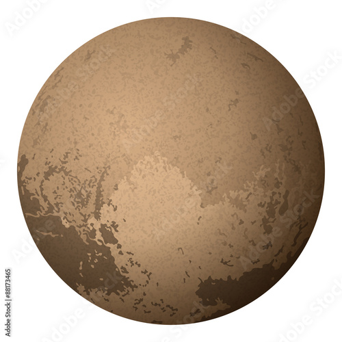 Dwarf Planet Pluto, Isolated on White фототапет