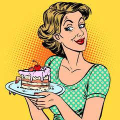 woman dessert cake