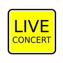 Live Concert Black Stamp Text On Yellow Background