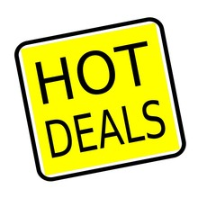 Hot Deals Black Stamp Text On Yellow Background
