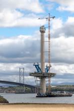 Forth Bridge Queensferry Crossing Under Construction. Edinburgh, Scotland.